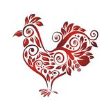 Rooster with Decorative floral ornament Stock Images