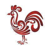 Rooster with Decorative floral ornament Royalty Free Stock Photo