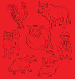 Rooster, dog, pig, rat, monkey, tiger and ox Stock Photos