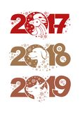 Rooster 2017. Dog 2018. Pig 2019. Symbols of the years on the Chinese calendar Royalty Free Stock Photos