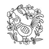 Rooster drawing with flower frame, isolated illustration royalty free stock image