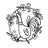 Rooster drawing with flower frame, isolated illustration stock photography