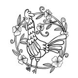 Rooster drawing with flower frame, isolated illustration stock photo