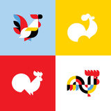 Rooster. Elegant flat vector logo templates or icons of cock Royalty Free Stock Images