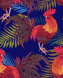 Rooster. Expressive decorative seamless pattern with cocks - a symbol of New Year 2017. fiery red rooster of the Chinese calendar. background for textile Stock Photo
