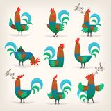 Rooster from farm. Rooster character from many fairy tales for children. Male chicken in different poses for greeting cards or posters in child`s room Stock Photos