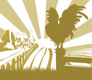 Rooster farm field landscape. An illustration of a farm house thatched cottage in an idyllic landscape of rolling hills with a cockerel crowing in silhouette Royalty Free Stock Photography