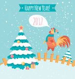 Rooster on the fence. Pastel colors. New year postcard. Blue poster. Banner Royalty Free Stock Photo