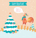 Rooster on the fence. Peachy poster. Pastel colors. New year postcard. Pastel colors. New year postcard.  Banner Stock Photos