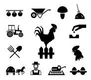 Rooster on fence surrounded by farm themed icons Stock Photography