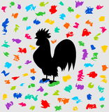 A rooster of festival under a barrage of color Royalty Free Stock Photos