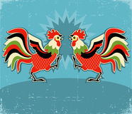 Rooster fight.vector color illustration background Stock Photography