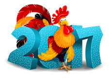 Rooster and 2017 figures. Cheerful vector illustration of cartoon Rooster and 2017 figures. New Year greeting. Rooster is a zodiac symbol of 2017 year by eastern Stock Image