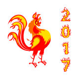 Rooster fire as symbol of new year 2017 royalty free stock photography