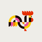 Rooster. Flat vector logo template or icon of cock Royalty Free Stock Images