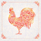 Rooster of floral pattern Royalty Free Stock Images