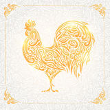 Rooster of floral pattern. Decorative symbol of chinese new year. Chicken. Cock Stock Photography