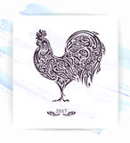 Rooster of floral pattern. / decorative symbol of chinese new year / chicken / cock Stock Images