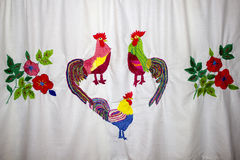 Rooster and flowers embroidery. Rooster and flowers Russian traditional embroidery Royalty Free Stock Photography
