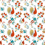 Rooster and flowers in Russian style Royalty Free Stock Photo
