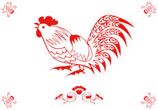 Rooster in a folk style. Monochrome in a folk style. One of the signs of the zodiac, the Chinese horoscope, folklore character. Vector illustration in red and stock illustration