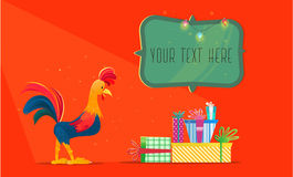 Rooster with gifts. Christmas vector illustration. The symbol of the new year 2017. Cartoon characters Stock Photos