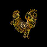Rooster, gold symbol of 2017 on the Chinese calendar. Thin line art cock, decorated with doodle or doodle style patterns. Golden rooster, symbol of 2017 on the Stock Photo