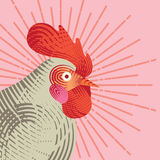 Rooster with graphic light ray. Royalty Free Stock Image