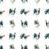 Rooster green brown look watercolor seamless. Silhouette of the cock. Sketch style. Watercolor illustration. Brush drawings. Chinese New Year 2017 Royalty Free Stock Images