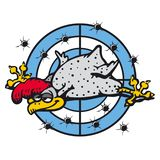 Rooster grey on the blue target with hole of the bullet. Vector, funny cartoon stock illustration