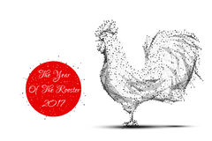 Rooster grey new year Stock Image