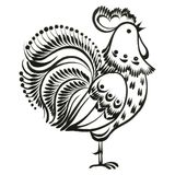 Rooster. Hand drawn, , black illustration in Ukrainian folk style Stock Photography