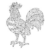 Rooster.Hand Drawn Doodle Zen Art Royalty Free Stock Photo