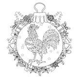 Rooster.Hand Drawn Doodle Zen Art Stock Photo