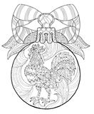Rooster.Hand Drawn Doodle Zen Art Stock Photography