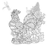 Rooster.Hand drawn doodle zen art Royalty Free Stock Photography