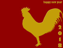 Rooster. Happy Chinese new year 2018. On red background Royalty Free Stock Photos