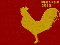 Rooster. Happy Chinese new year 2018. On red background Stock Photography