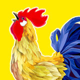 Rooster. 2017 Happy New Year greeting card. 2017 Happy New Year greeting card. Celebration yellow background with Rooster and place for your text. 2017 Chinese Royalty Free Stock Photo