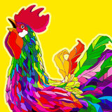 Rooster. 2017 Happy New Year greeting card. 2017 Happy New Year greeting card. Celebration yellow background with Rooster and place for your text. 2017 Chinese Stock Images