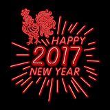 The rooster happy new year greeting card design template. 2017 new year calendar symbol or rooster, glowing neon light on dar. Happy new year 2017 rooster stock illustration