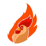 Rooster head in the fire Royalty Free Stock Photo