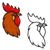 Rooster head isolated on white background. Design element for lo. Go, label, emblem, sign, brand mark. Year of the fire rooster. Vector illustration Stock Photography