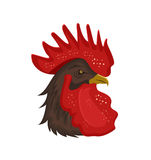 Rooster head with red comb isolated on white background. Creative vector illustration. Logo or emblem design element. Rooster head with red comb isolated on Royalty Free Stock Image