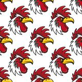 Rooster head seamless background pattern Stock Photo