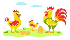 Rooster, hen, chick and an egg on the lawn. stock illustration