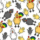 Rooster, hen and chick pattern seamless Stock Photo