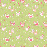 Rooster hen and chicks. Seamless pattern Royalty Free Stock Image
