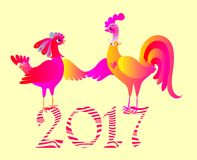 Rooster and hen - greeting card with chinese symbol of 2017 year Royalty Free Stock Photo