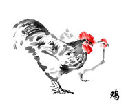 Rooster and hen sumi-e. Royalty Free Stock Photos